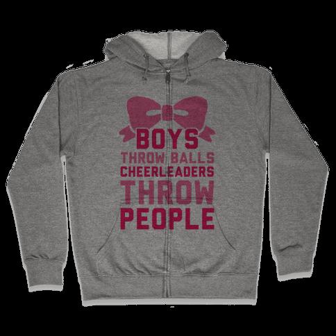 Boys Throw Balls Cheerleaders Throw People Zip Hoodie