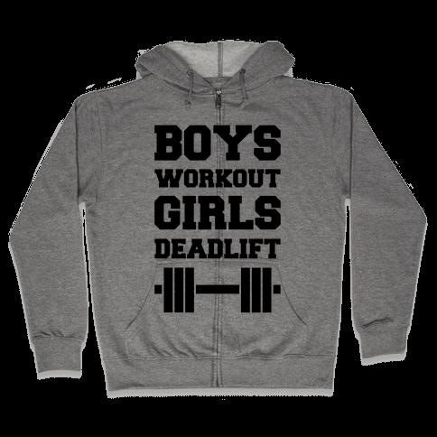 Boys Workout Girls Deadlift Zip Hoodie