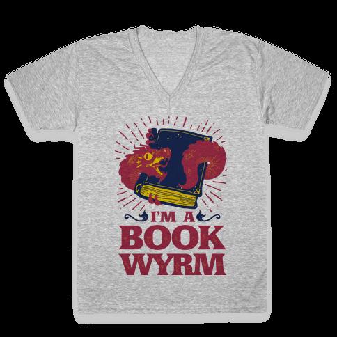 I'm a Book Wyrm V-Neck Tee Shirt
