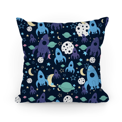 Rocket Space Pattern Pillow