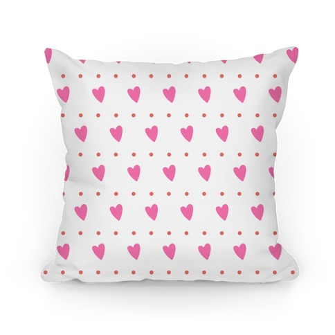 Pink and Coral Hearts and Dots Pattern Pillow