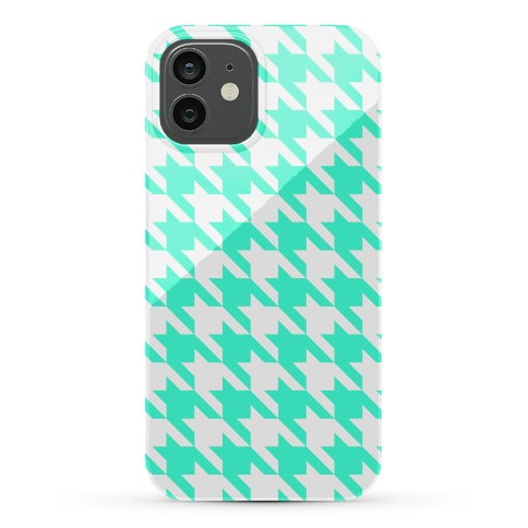 Mint Houndstooth Phone Case