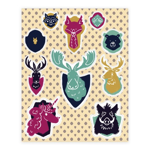 Fantasy and Woodland Faux Taxidermy Animals Sticker and Decal Sheet