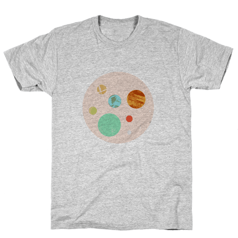 Coffee & Space Planets Mens T-Shirt