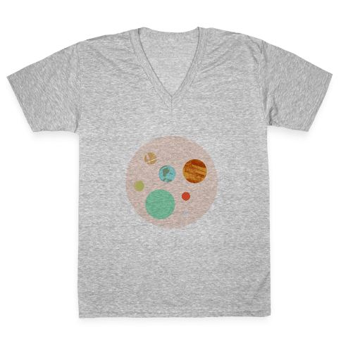 Coffee & Space Planets V-Neck Tee Shirt