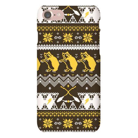 Hogwarts Ugly Christmas Sweater Pattern: Hufflepuff Phone Case