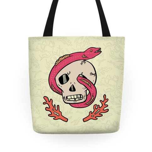 Skull and Coral Crossbones Tote