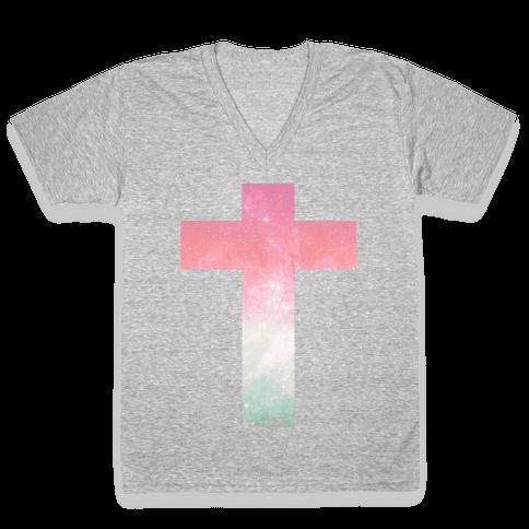 Cosmic Cross V-Neck Tee Shirt