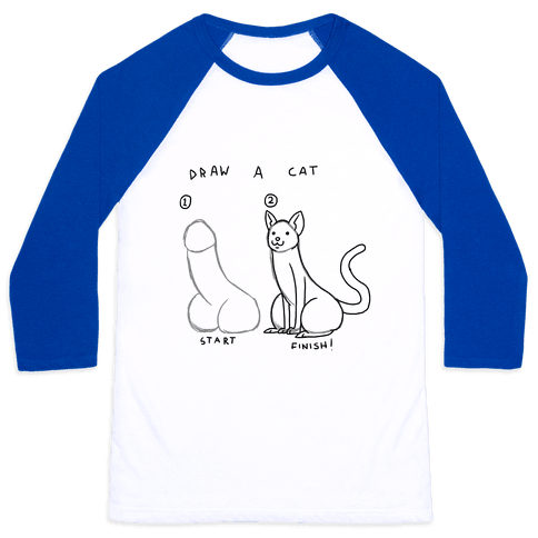 How To Draw a Cat Baseball Tee
