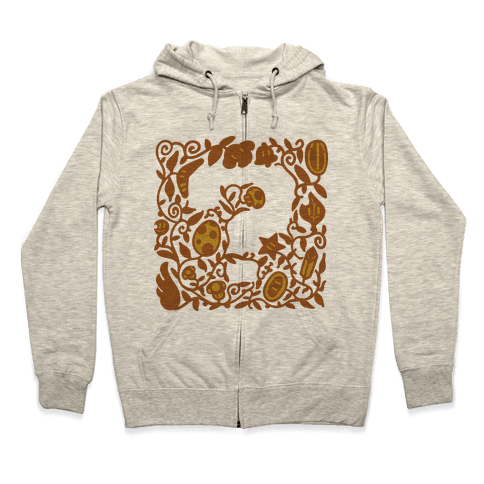 Floral Question Block Zip Hoodie