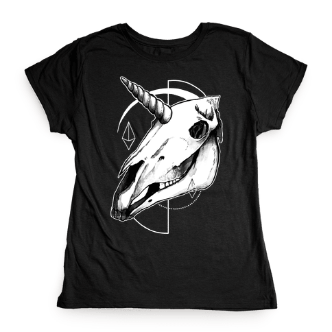 Geometric Occult Unicorn Skull Womens T-Shirt