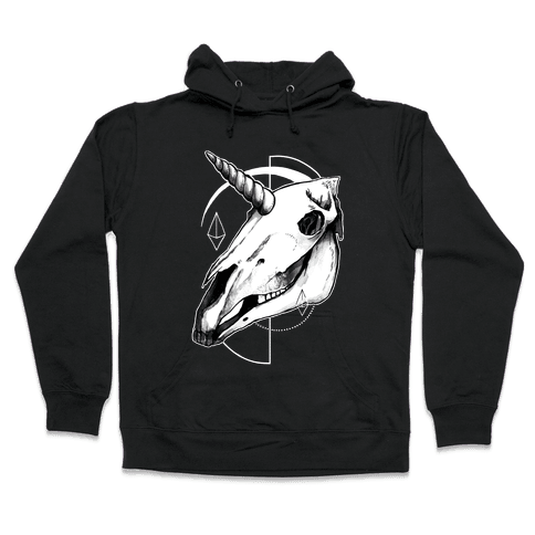 Geometric Occult Unicorn Skull Hooded Sweatshirt