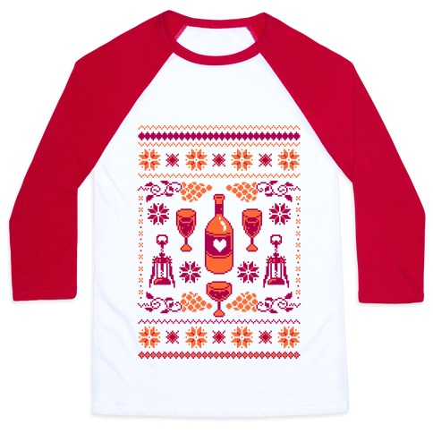 Ugly Wine Christmas Sweater Baseball Tee