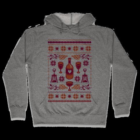 Ugly Wine Christmas Sweater Hooded Sweatshirt