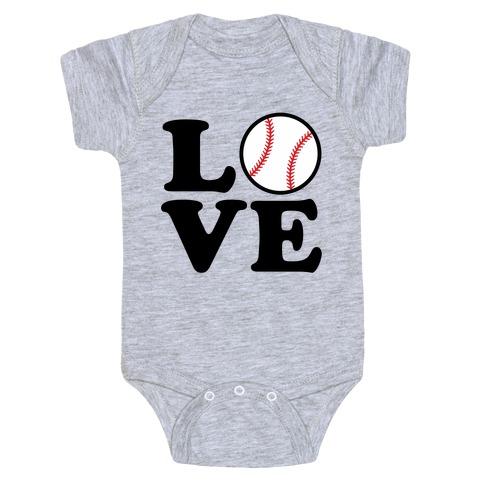 Love Baseball Baby Onesy