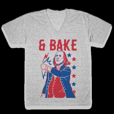 Shake & Bake: Benjamin Franklin V-Neck Tee Shirt
