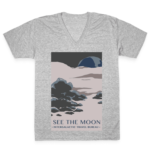 Space Travel - The Moon V-Neck Tee Shirt