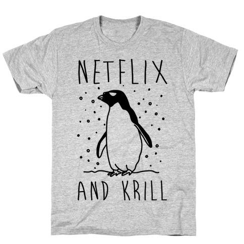 ac9e739a Netlfix And Krill Penguin T-Shirt