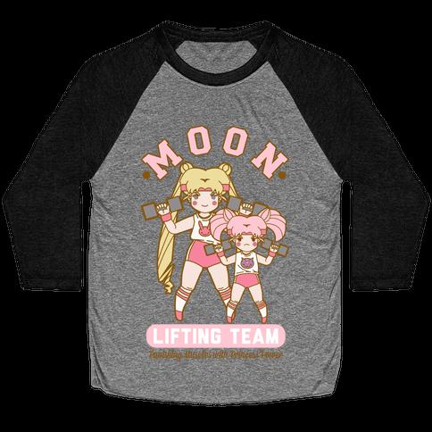 Moon Lifting Team Parody Baseball Tee