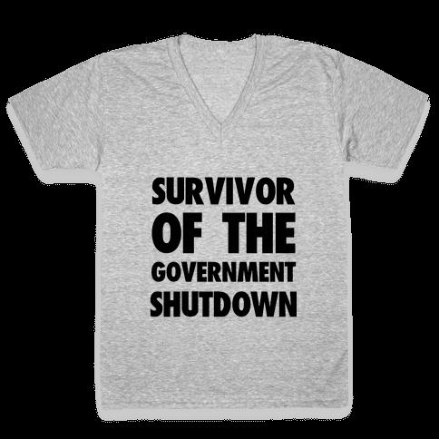 Survivor of the Government V-Neck Tee Shirt
