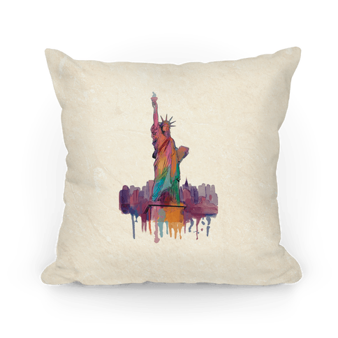 Statue Of Liberty Watercolor Pillow