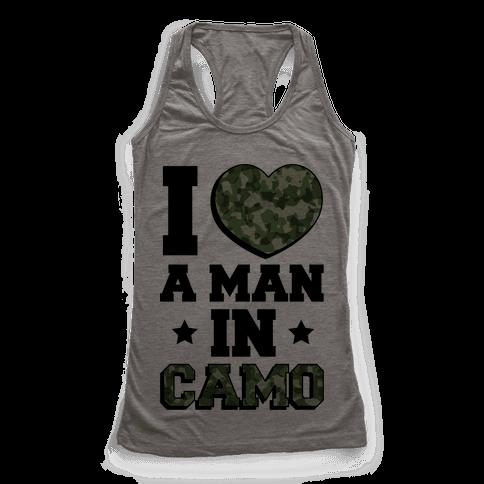 I Love a Man in Camo Racerback Tank Top