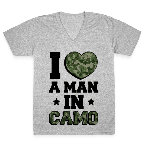 I Love a Man in Camo V-Neck Tee Shirt