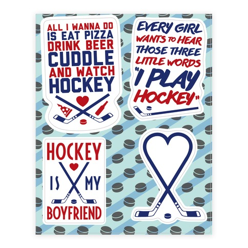 Girly Hockey Sticker and Decal Sheet