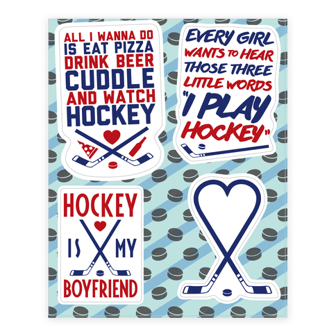 Girly Hockey  Sticker/Decal Sheet
