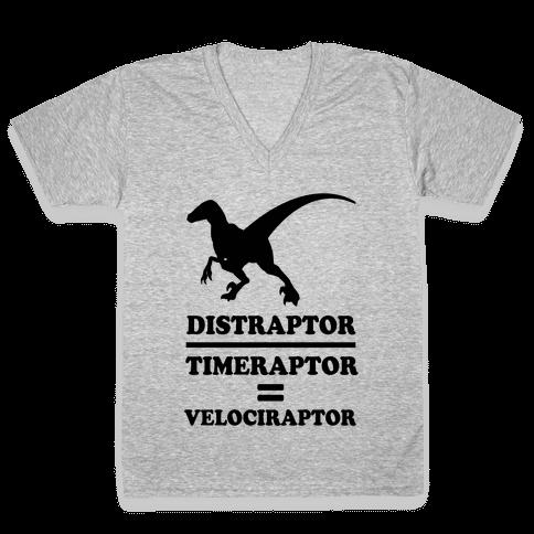 Distraraptor divided by Timeraptor= Velociraptor V-Neck Tee Shirt