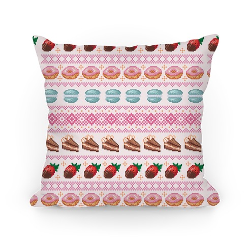 Ugly Dessert Sweater Pattern Pillow