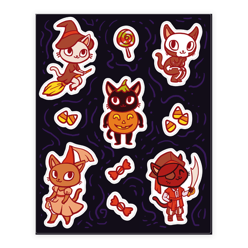 Spooky Cute Cats in Halloween Costumes Sticker and Decal Sheet