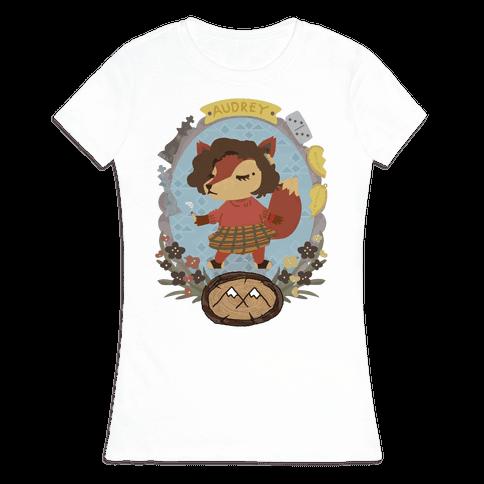 Audrey Horn Fox Womens T-Shirt