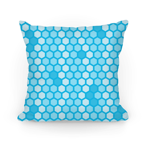 Blue Geometric Honeycomb Pattern Pillow