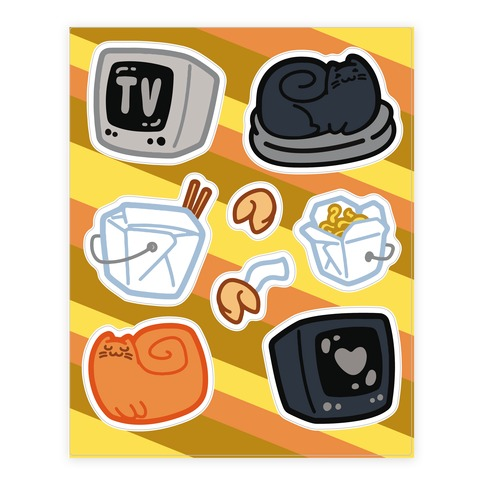 Tv Takeout Cat Sticker and Decal Sheet