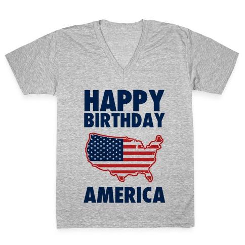 Happy Birthday America V Neck Tee