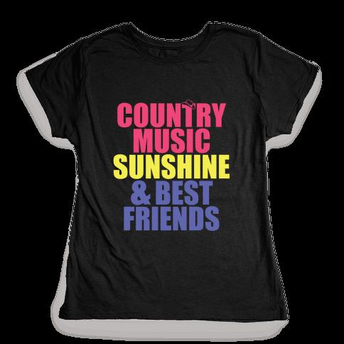 Music, Sun, Friends Womens T-Shirt