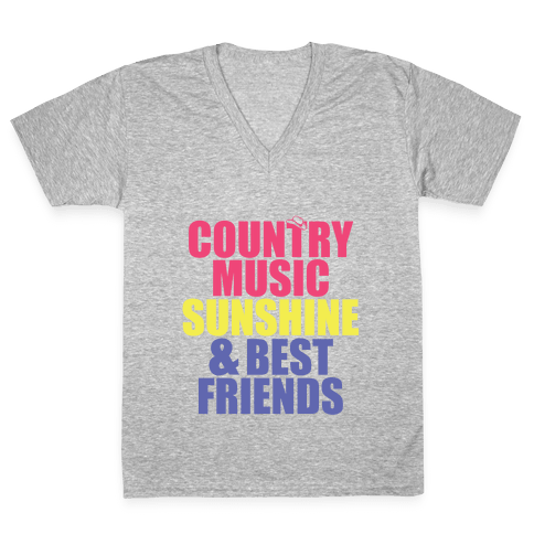 Music, Sun, Friends V-Neck Tee Shirt