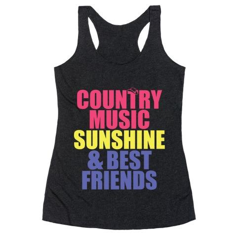 Music, Sun, Friends Racerback Tank Top