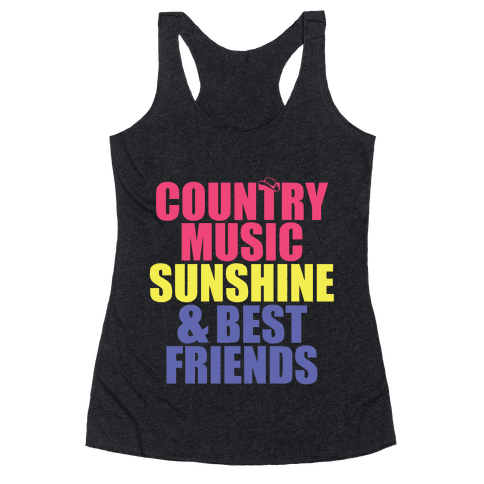 Music, Sun, Friends Racerback Tank Top