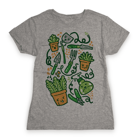 Kawaii Plants and Gardening Tools Womens T-Shirt