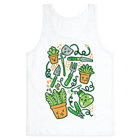 Kawaii Plants and Gardening Tools Tank Top