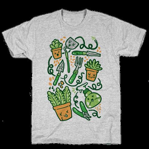 Kawaii Plants and Gardening Tools Mens T-Shirt