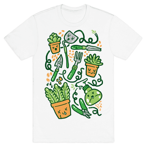 Kawaii Plants and Gardening Tools Mens T-Shirt