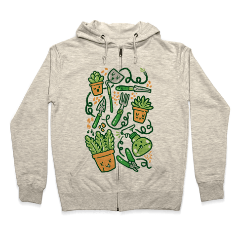 Kawaii Plants and Gardening Tools Zip Hoodie