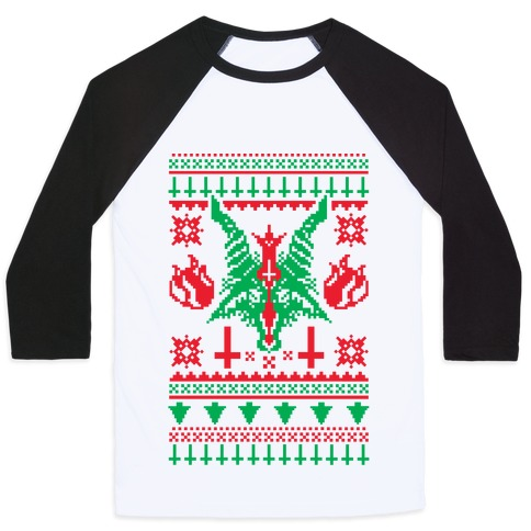Satanic Christmas Sweater.Baphomet Ugly Christmas Sweater Baseball Tee Lookhuman