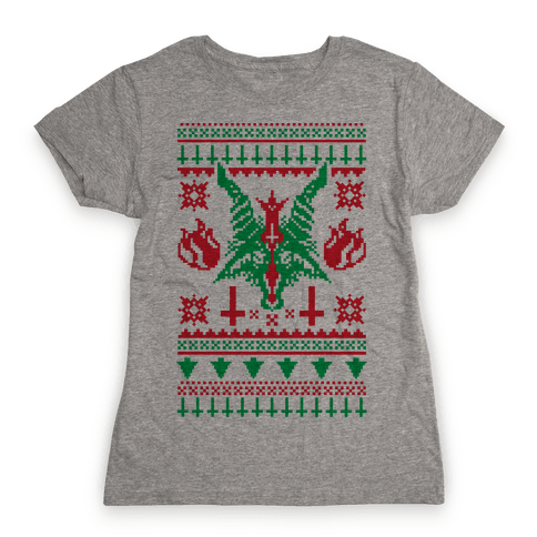 Baphomet Ugly Christmas Sweater  Womens T-Shirt