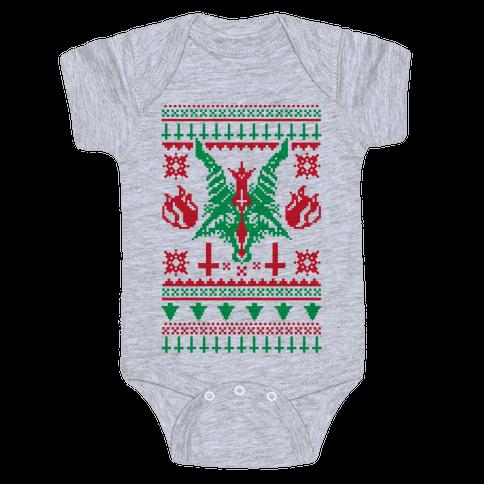 Baphomet Ugly Christmas Sweater  Baby Onesy