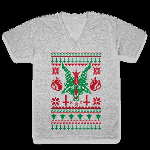 Baphomet Ugly Christmas Sweater  V-Neck Tee Shirt