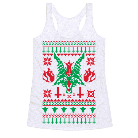 Baphomet Ugly Christmas Sweater  Racerback Tank Top